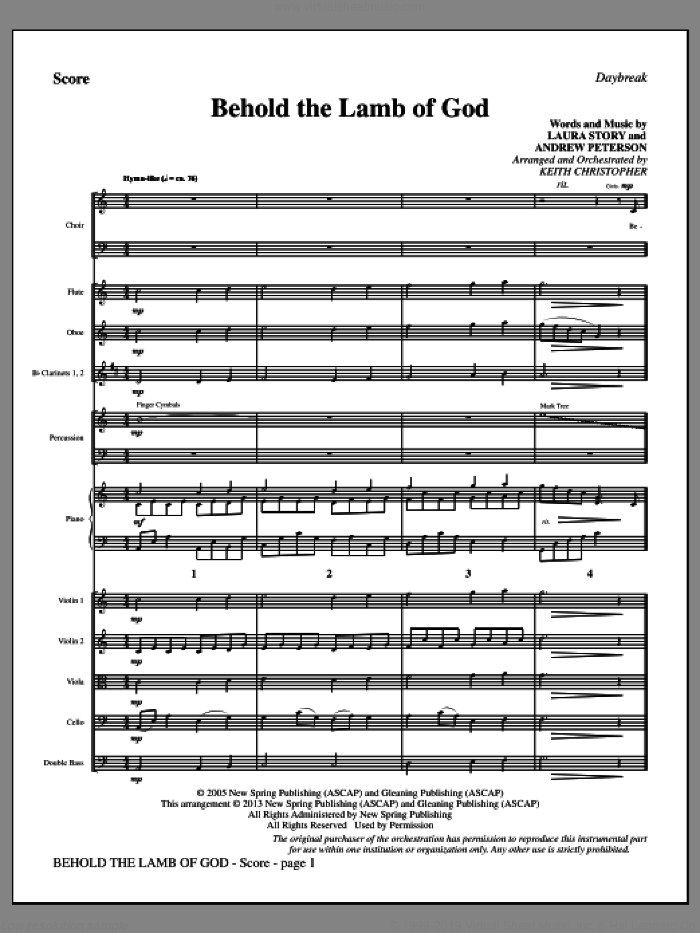 Behold the Lamb of God (COMPLETE) sheet music for orchestra/band by Laura Story, Andrew Peterson and Keith Christopher, intermediate skill level