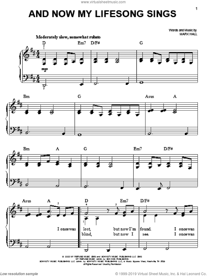 And Now My Lifesong Sings sheet music for piano solo by Casting Crowns and Mark Hall, easy skill level