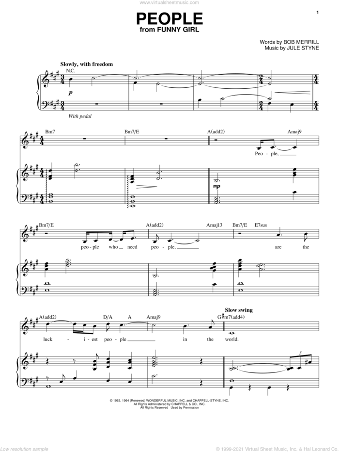 People sheet music for voice and piano by Barbra Streisand, Bob Merrill and Jule Styne, intermediate skill level