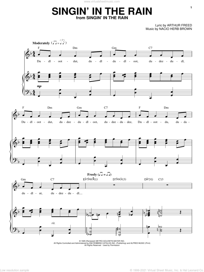 Singin' In The Rain sheet music for voice and piano by Nacio Herb Brown and Arthur Freed, intermediate skill level