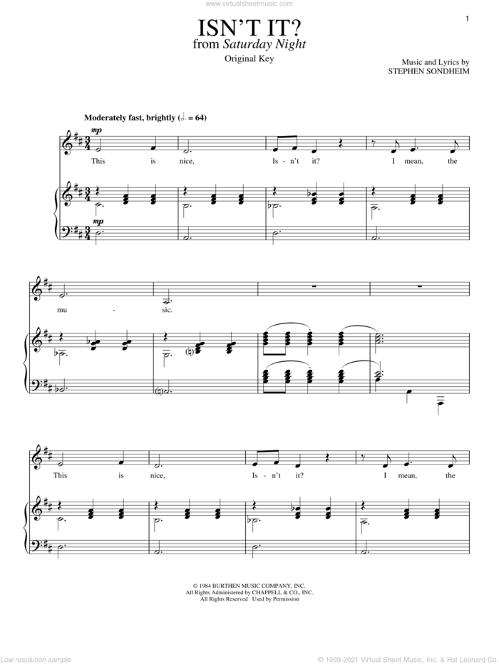 Isn't It? sheet music for voice and piano by Stephen Sondheim, intermediate skill level