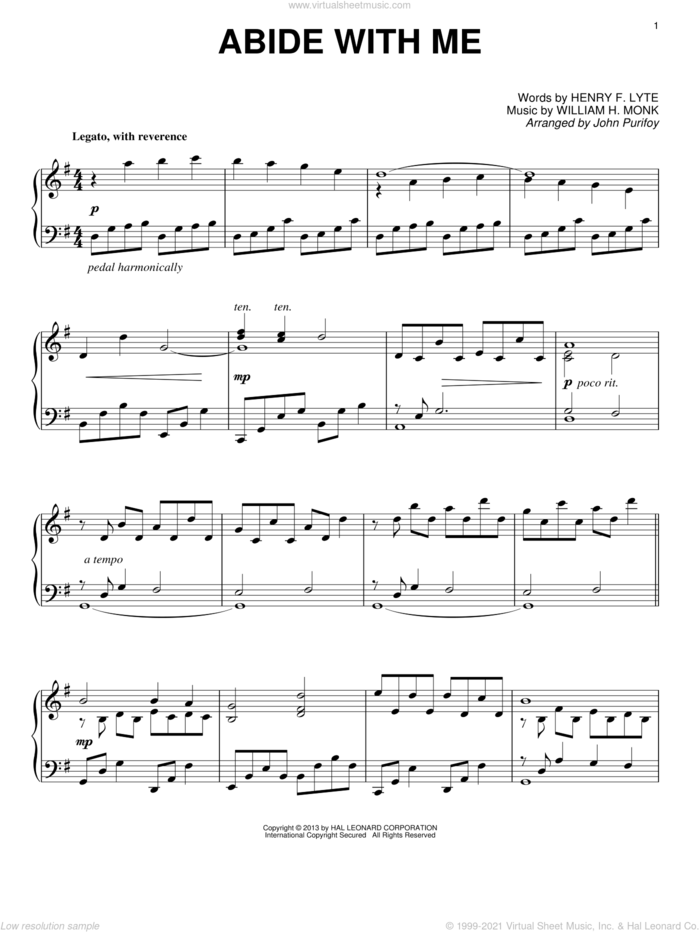 Abide With Me sheet music for piano solo by John Purifoy, Henry F. Lyte and William Henry Monk, intermediate skill level