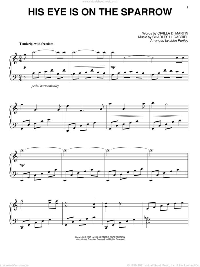 His Eye Is On The Sparrow sheet music for piano solo by John Purifoy, Charles H. Gabriel and Civilla D. Martin, intermediate skill level