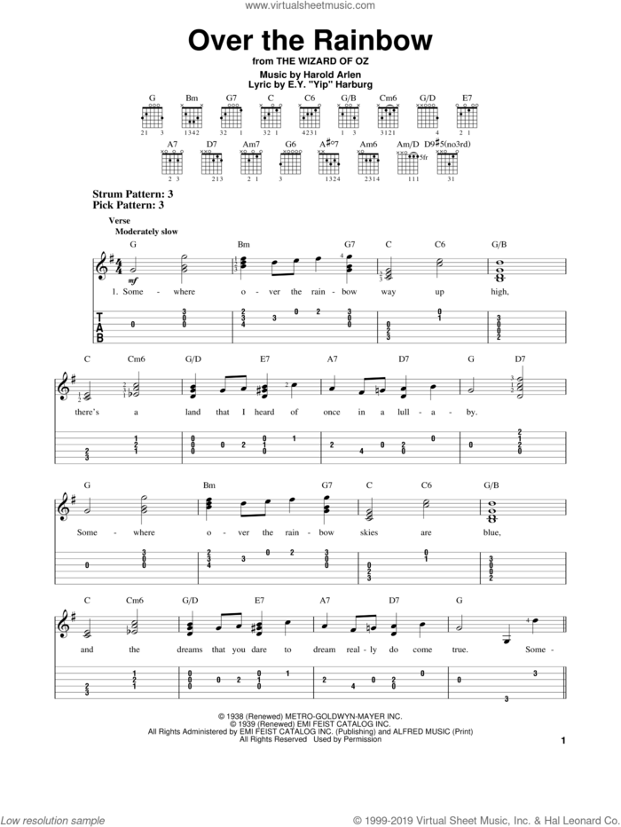 Over The Rainbow sheet music for guitar solo (easy tablature) by Harold Arlen and E.Y. Harburg, easy guitar (easy tablature)