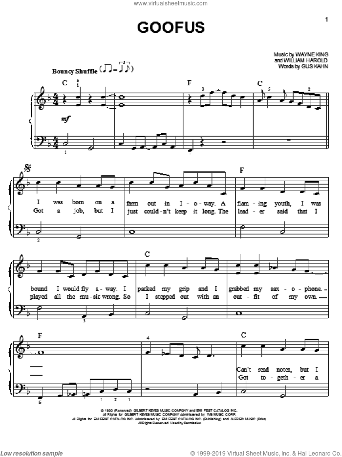 Goofus sheet music for piano solo by Carpenters, easy skill level