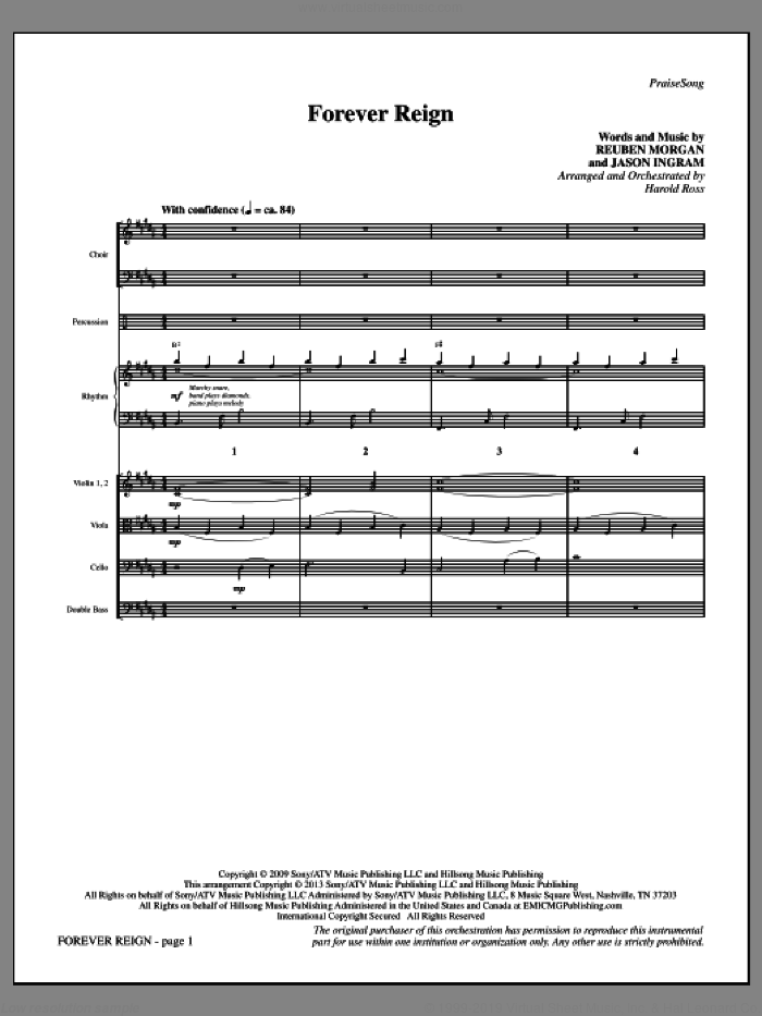 Forever Reign (COMPLETE) sheet music for orchestra/band by Harold Ross and Hillsong Live, intermediate skill level
