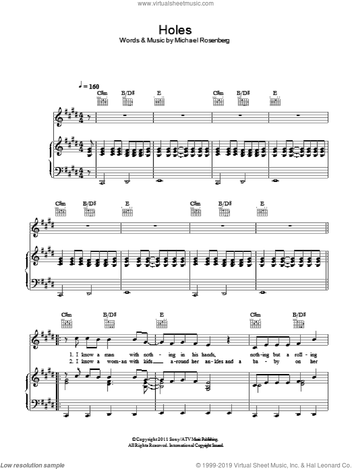 Holes sheet music for voice, piano or guitar by Passenger and Michael Rosenberg, intermediate skill level