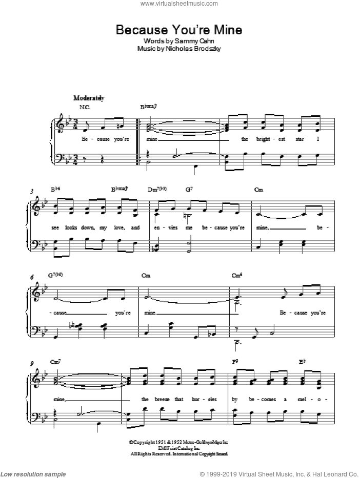 Because You're Mine sheet music for piano solo by Sammy Cahn and Nicholas Brodszky, easy skill level