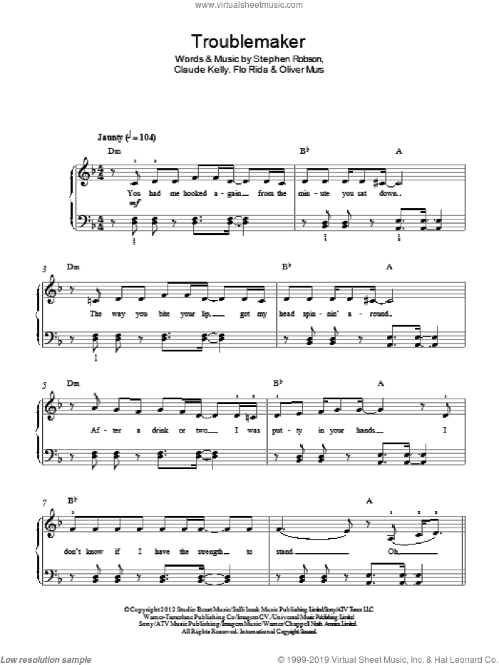 Troublemaker sheet music for piano solo by Olly Murs, Claude Kelly, Flo Rida, Oliver Murs and Steve Robson, easy skill level