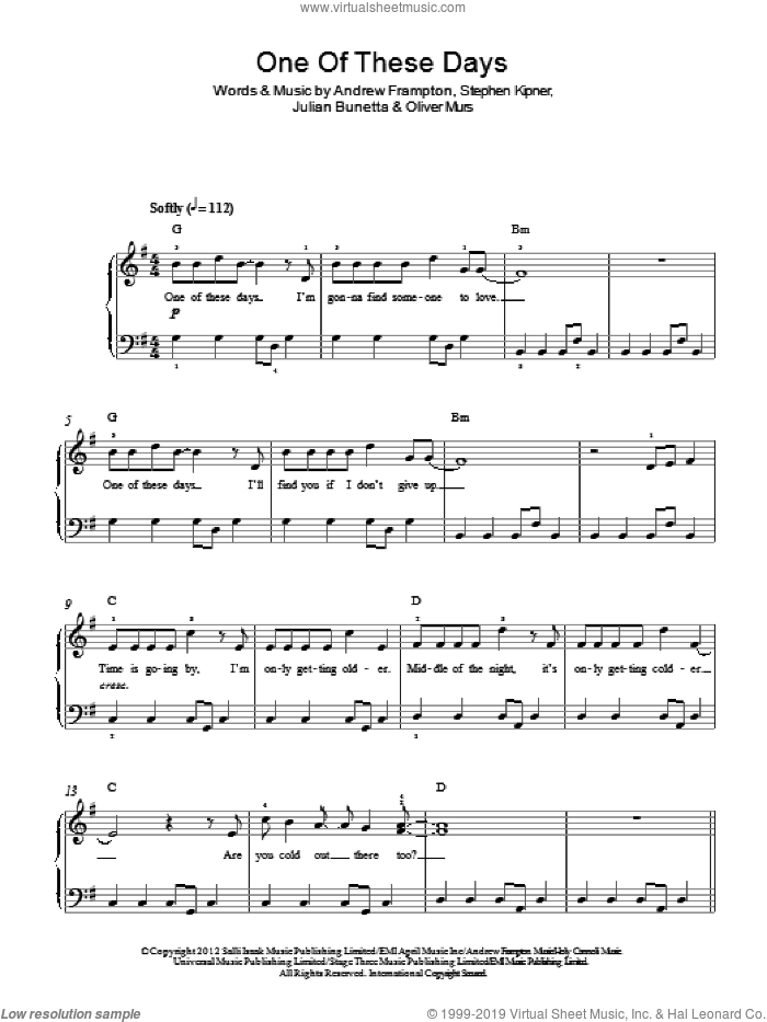 One Of These Days sheet music for piano solo by Olly Murs, Andrew Frampton, Julian Bunetta, Oliver Murs and Steve Kipner, easy skill level