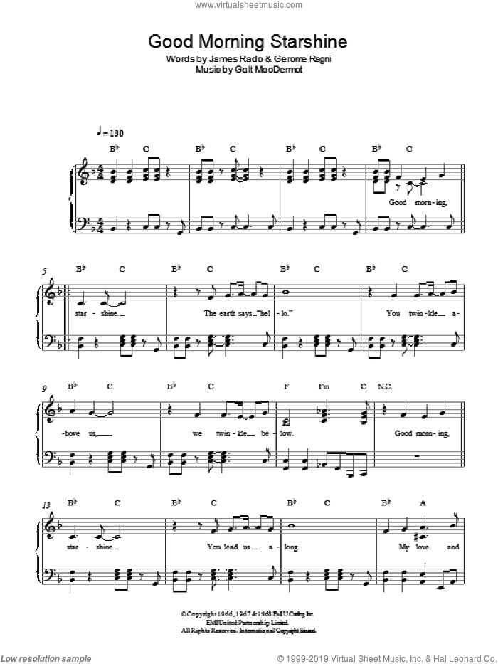 Good Morning Starshine sheet music for piano solo by Galt MacDermot, Gerome Ragni and James Rado, easy skill level