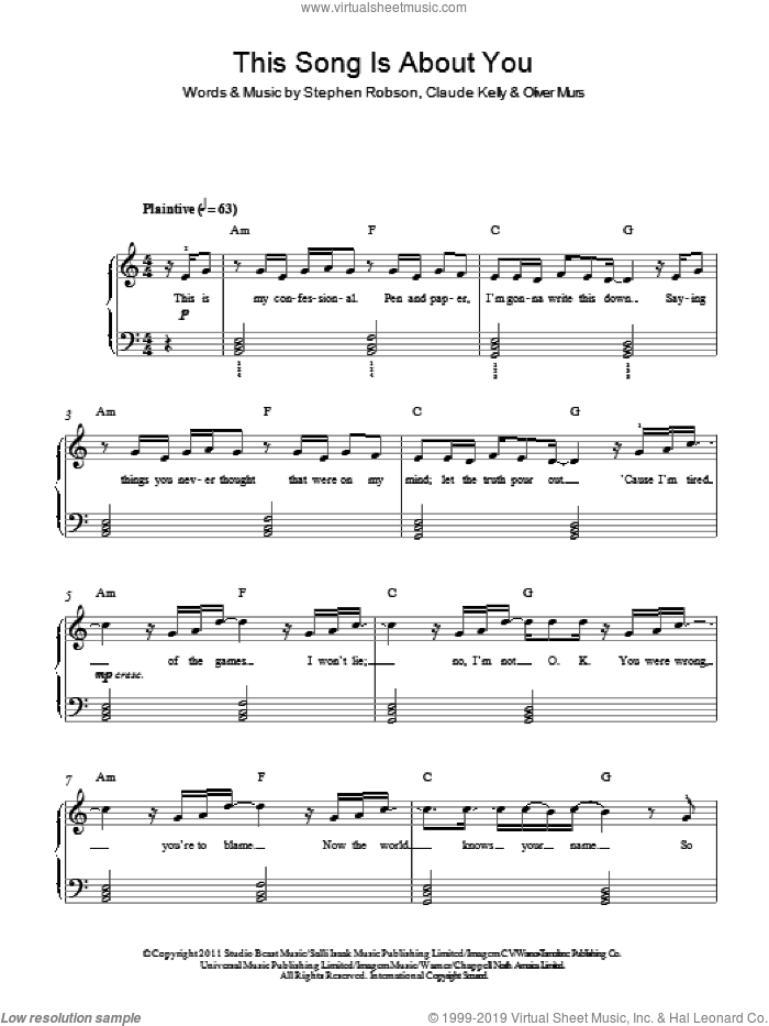 This Song Is About You sheet music for piano solo by Olly Murs, Claude Kelly, Oliver Murs and Steve Robson, easy skill level