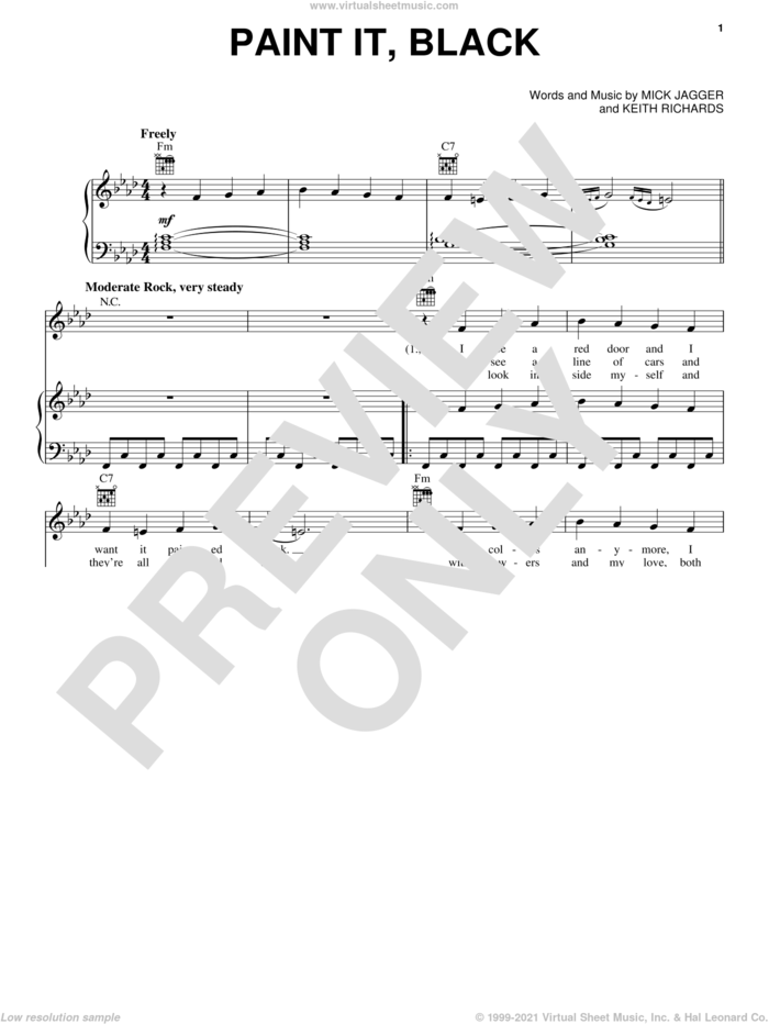 Paint It, Black sheet music for voice, piano or guitar by The Rolling Stones, intermediate skill level