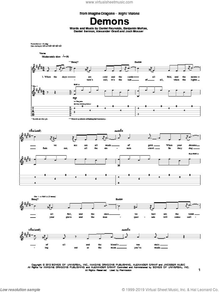 Demons sheet music for guitar (tablature) by Imagine Dragons, intermediate skill level