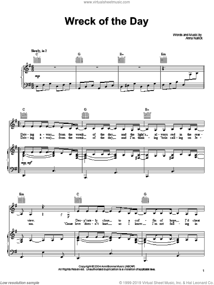 Wreck of the Day sheet music for voice, piano or guitar by Anna Nalick, intermediate skill level