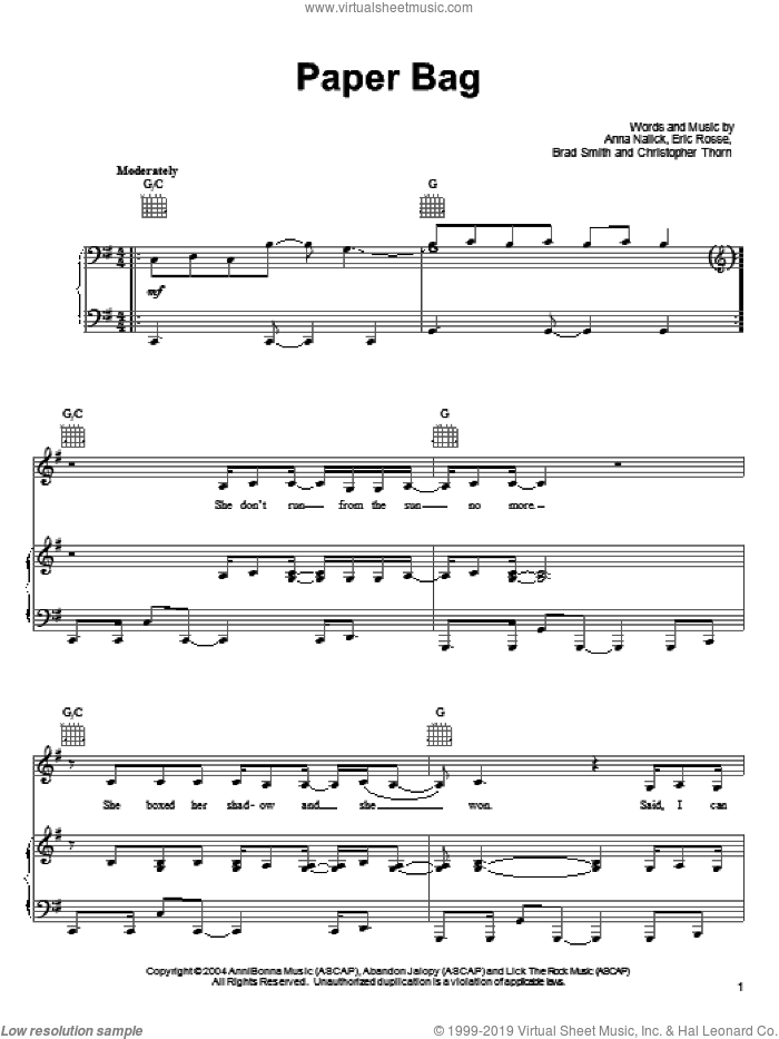 Paper Bag sheet music for voice, piano or guitar by Anna Nalick, Brad Smith, Christopher Thorn and Eric Rosse, intermediate skill level