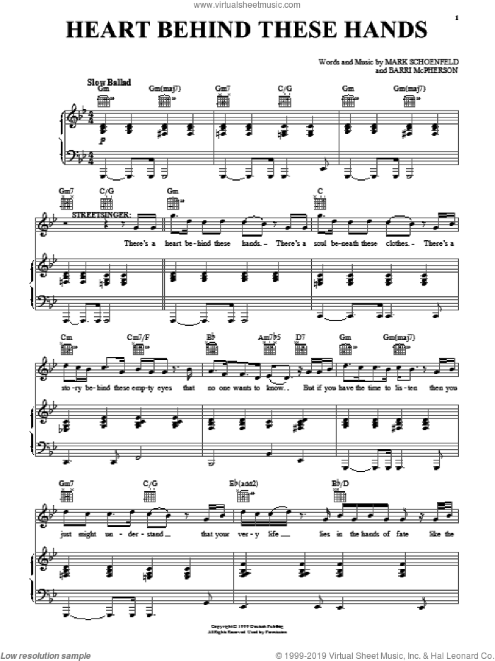 Heart Behind These Hands sheet music for voice, piano or guitar by Brooklyn The Musical, Barri McPherson and Mark Schoenfeld, intermediate skill level