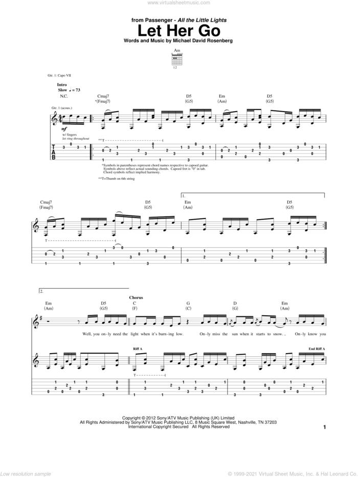 Let Her Go sheet music for guitar (tablature) by Passenger and Michael David Rosenberg, intermediate skill level