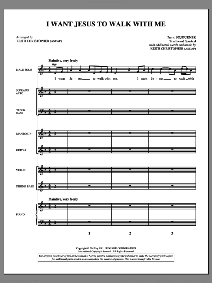 I Want Jesus to Walk with Me (COMPLETE) sheet music for orchestra/band by Keith Christopher and Miscellaneous, intermediate skill level