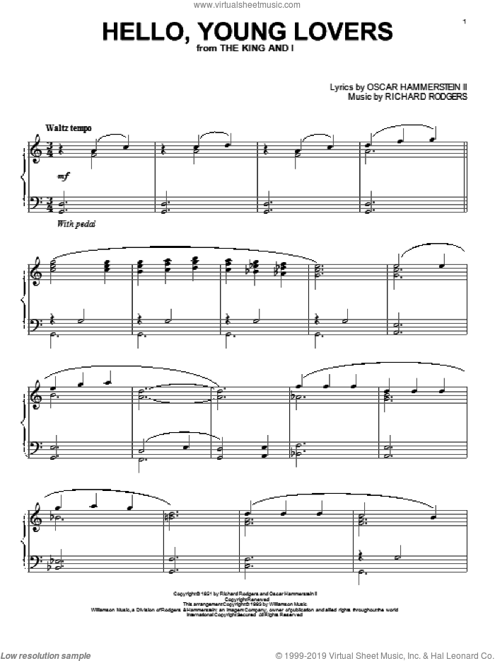 Hello, Young Lovers sheet music for piano solo by Rodgers & Hammerstein, Oscar II Hammerstein, Richard Rodgers and Stevie Wonder, classical score, intermediate skill level