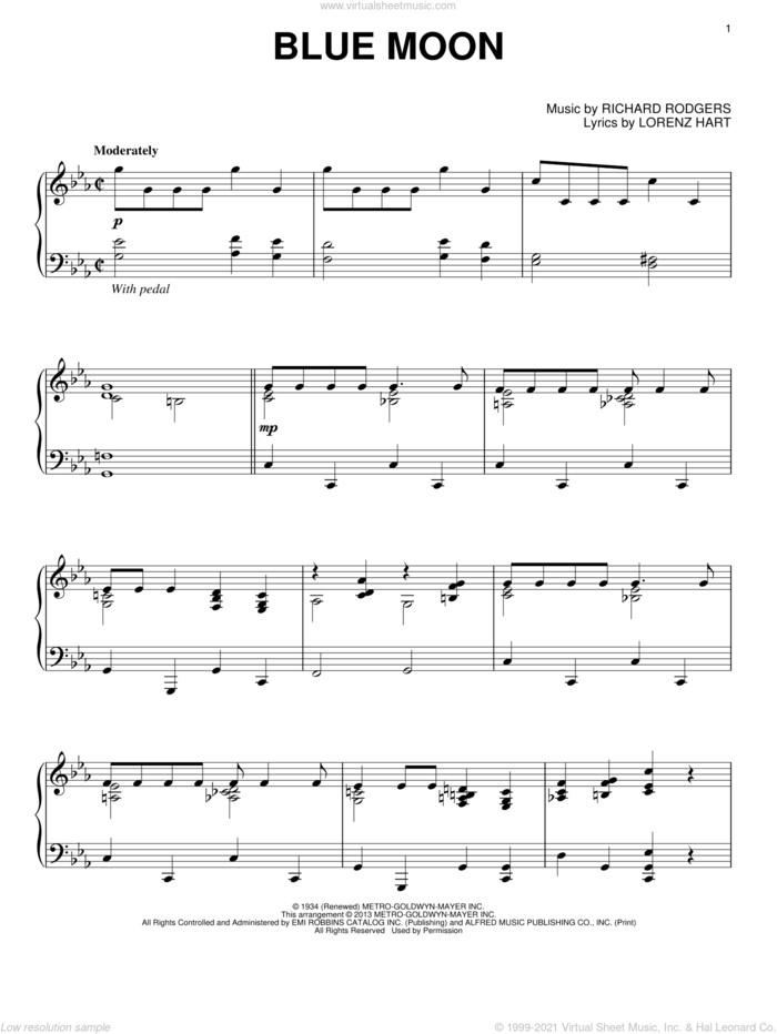 Blue Moon, (intermediate) sheet music for piano solo by Rodgers & Hart, Elvis Presley, Lorenz Hart, Richard Rodgers and The Marcels, intermediate skill level