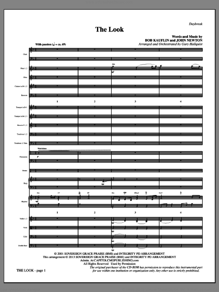 The Look (COMPLETE) sheet music for orchestra/band by Gary Hallquist, Bob Kauflin and Sovereign Grace Music, intermediate skill level