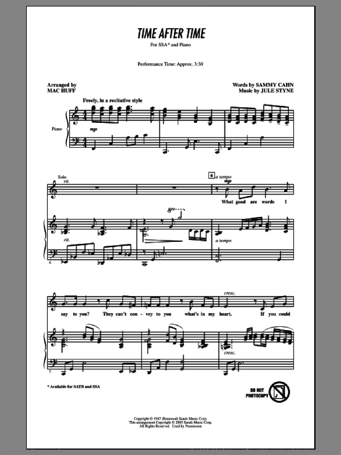 Time After Time (arr. Mac Huff) sheet music for choir (SATB: soprano, alto, tenor, bass) by Frank Sinatra, Jule Styne, Mac Huff and Sammy Cahn, intermediate skill level