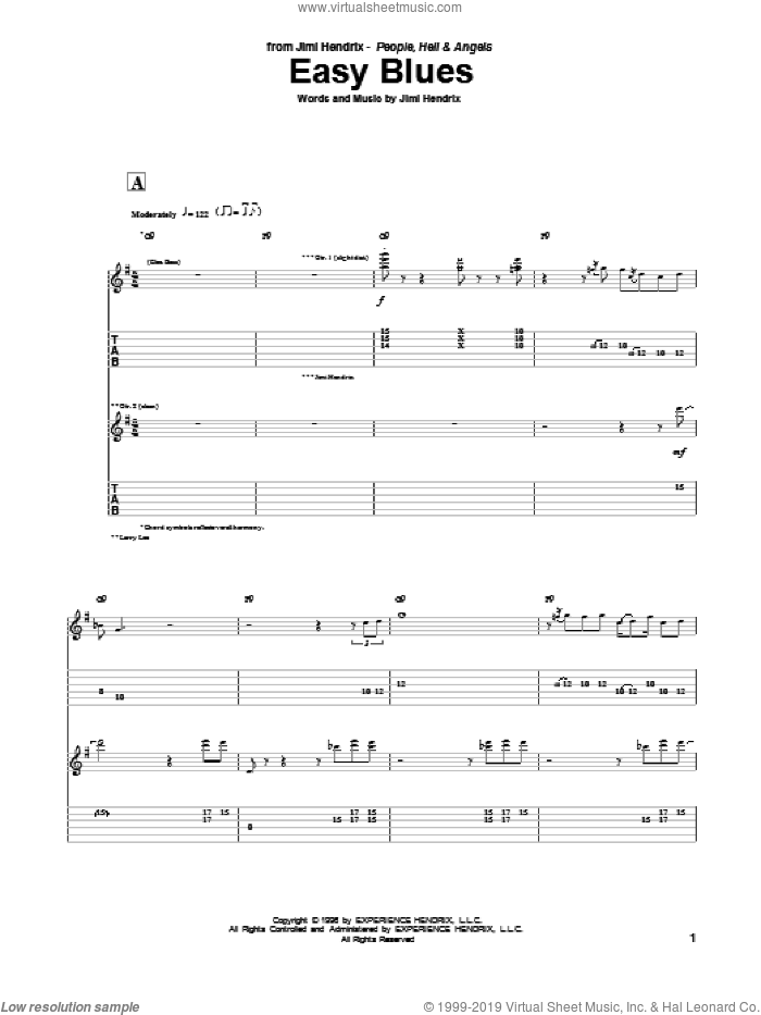 Easy Blues sheet music for guitar (tablature) by Jimi Hendrix, intermediate skill level