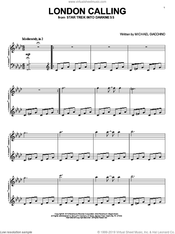 London Calling sheet music for voice, piano or guitar by Michael Giacchino, intermediate skill level