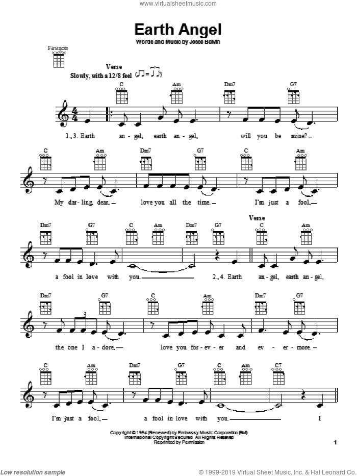 Earth Angel sheet music for ukulele by The Penguins and Crew-Cuts, intermediate skill level