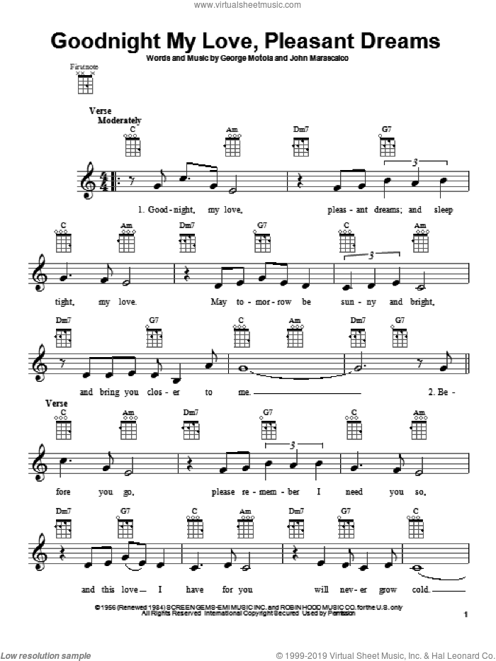 Goodnight My Love, Pleasant Dreams sheet music for ukulele by Paul Anka and McGuire Sisters, intermediate skill level