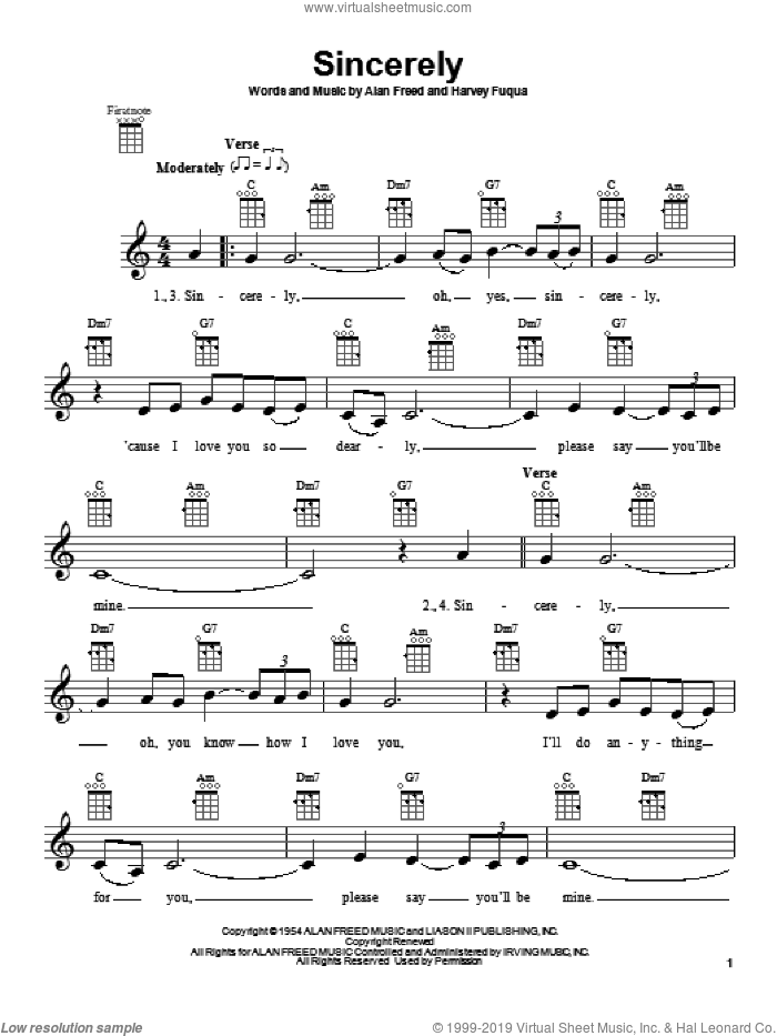 Sincerely sheet music for ukulele by McGuire Sisters, The Moonglows and Moonglows, intermediate skill level