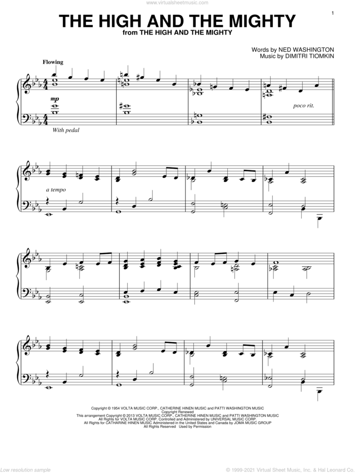 The High And The Mighty sheet music for piano solo by Dimitri Tiomkin and Ned Washington, classical score, intermediate skill level