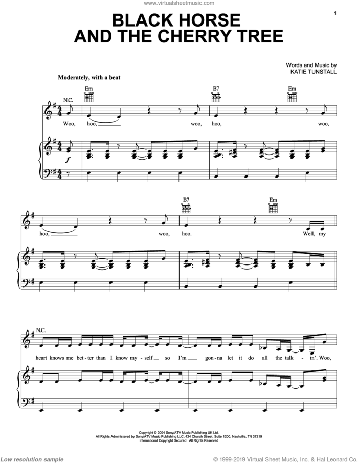 Black Horse And The Cherry Tree sheet music for voice, piano or guitar by KT Tunstall, intermediate skill level