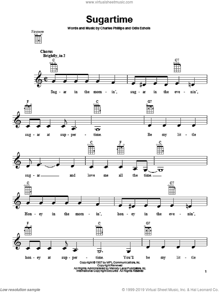 Sugartime sheet music for ukulele by The McGuire Sisters, intermediate skill level