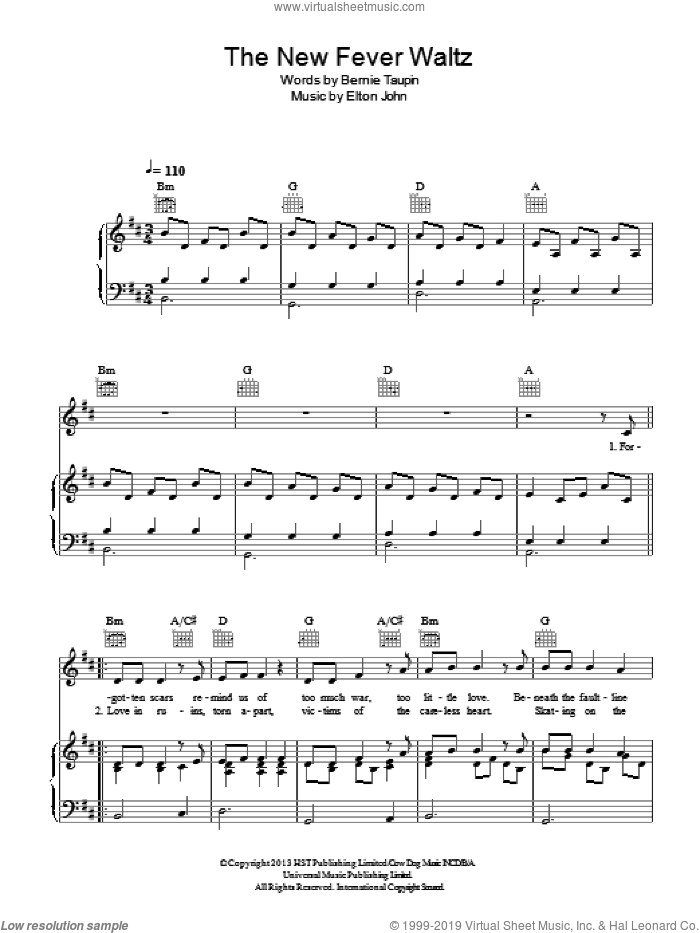 The New Fever Waltz sheet music for voice, piano or guitar by Elton John and Bernie Taupin, intermediate skill level