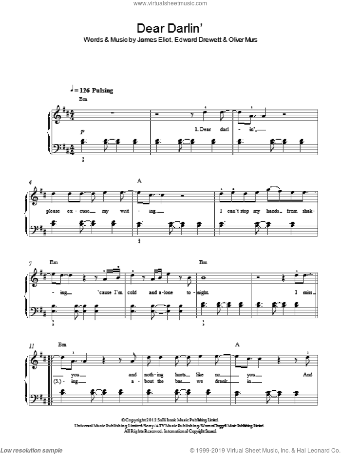 Dear Darlin' sheet music for piano solo by Olly Murs, Edward Drewett, James Eliot and Oliver Murs, easy skill level