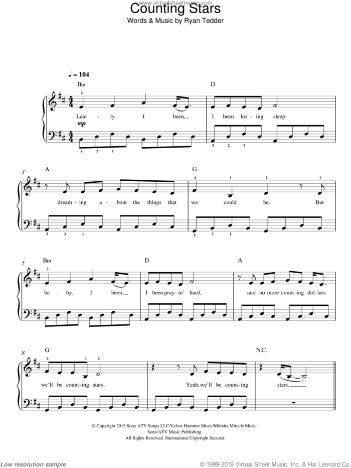 Counting Stars, (easy) sheet music for piano solo by OneRepublic and Ryan Tedder, easy skill level