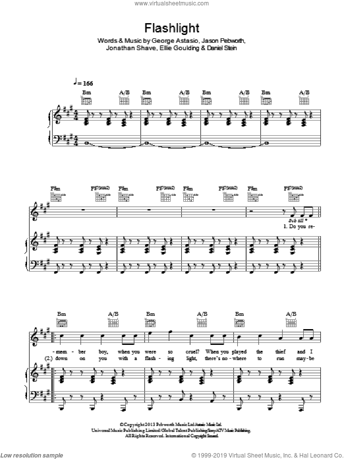 Flashlight sheet music for voice, piano or guitar by Ellie Goulding, Daniel Stein, George Astasio, Jason Pebworth and Jonathan Shave, intermediate skill level