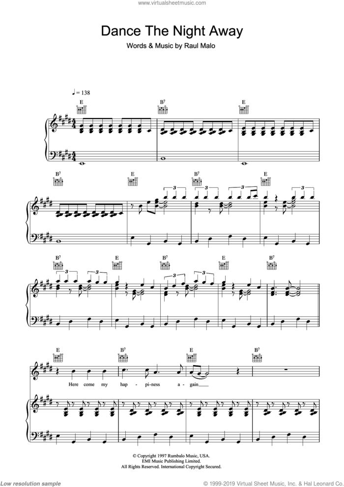 Dance The Night Away sheet music for voice, piano or guitar by The Mavericks and Raul Malo, intermediate skill level