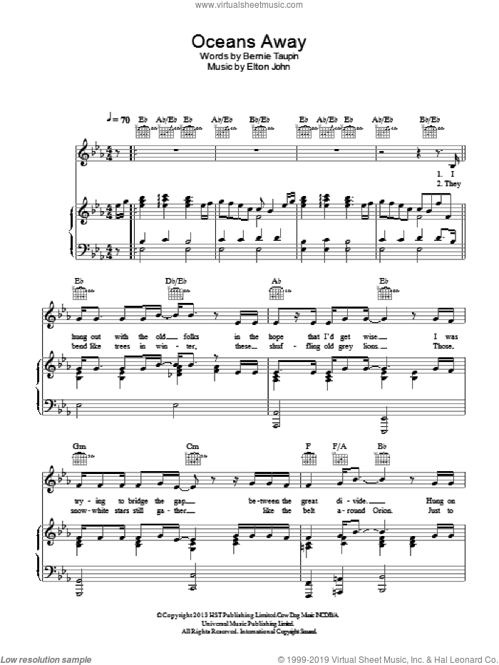 Oceans Away sheet music for voice, piano or guitar by Elton John and Bernie Taupin, intermediate skill level