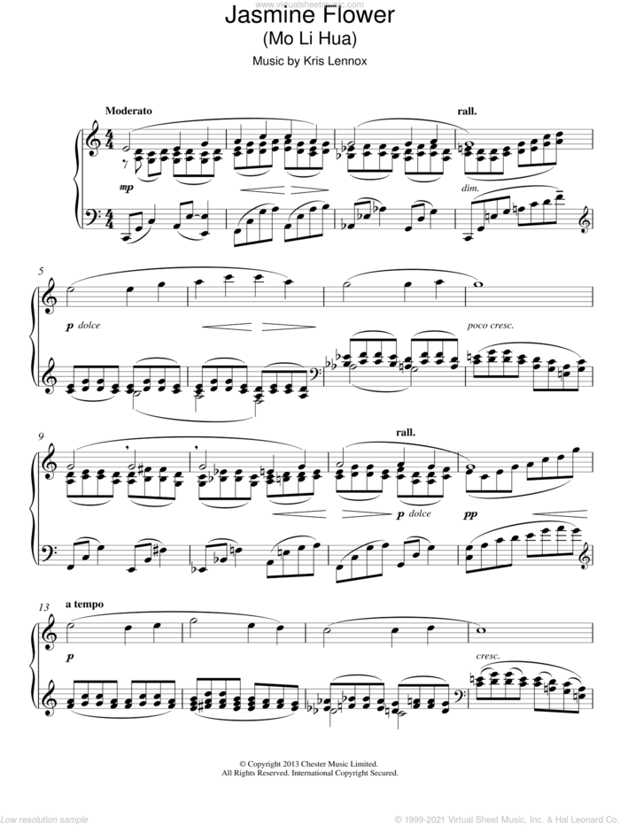 Jasmine Flower sheet music for piano solo by Kris Lennox, classical score, intermediate skill level