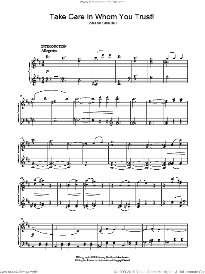 Take Care In Whom You Trust! sheet music for piano solo by Johann Strauss, Jr., classical score, intermediate skill level