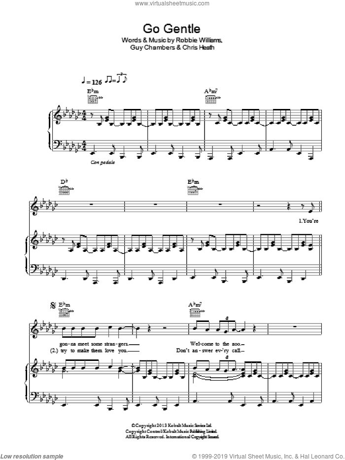 Go Gentle sheet music for voice, piano or guitar by Robbie Williams, Chris Heath and Guy Chambers, intermediate skill level