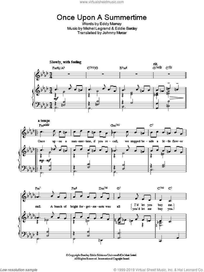 Once Upon A Summertime sheet music for voice, piano or guitar by Michel LeGrand, Johnny Mercer, Eddie Barclay and Eddy Marnay, intermediate skill level