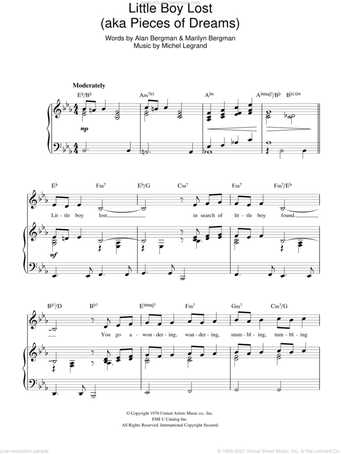 Little Boy Lost sheet music for voice, piano or guitar by Michel LeGrand, Alan Bergman and Marilyn Bergman, intermediate skill level