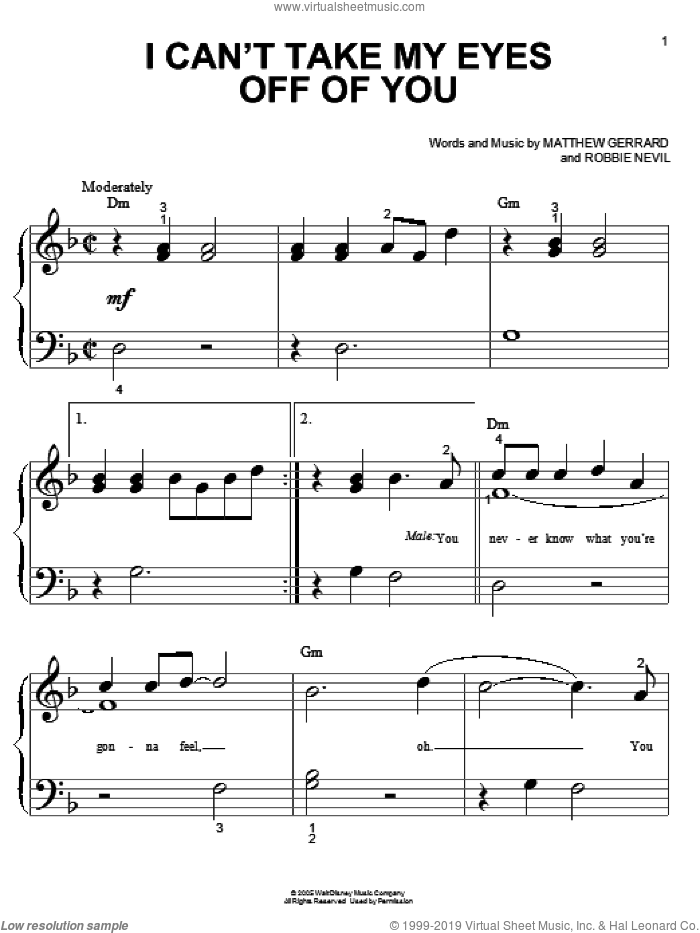 I Can't Take My Eyes Off Of You sheet music for piano solo (big note book) by High School Musical, Matthew Gerrard and Robbie Nevil, easy piano (big note book)