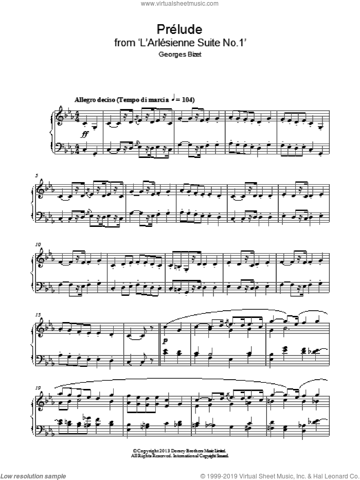 Prelude (from 'L'Arlesienne') sheet music for piano solo by Georges Bizet, classical score, intermediate skill level