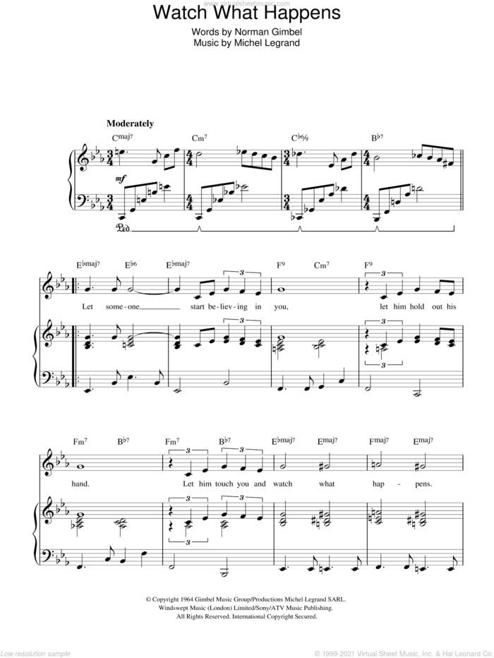 Watch What Happens sheet music for voice, piano or guitar by Michel LeGrand and Norman Gimbel, intermediate skill level