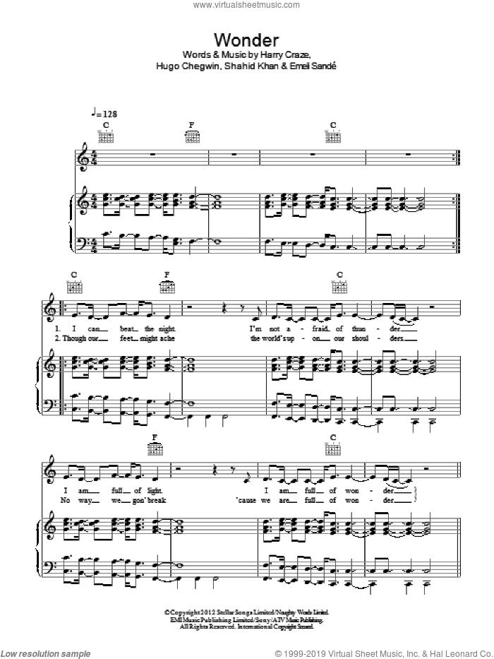 Wonder sheet music for voice, piano or guitar by Naughty Boy Featuring Emeli Sande, Emeli Sande, Harry Craze, Hugo Chegwin and Shahid Khan, intermediate skill level